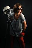 γυναίκα φωτογραφικών μηχ&alp Στοκ Φωτογραφία