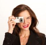 γυναίκα φωτογραφικών μηχ&alp στοκ εικόνα με δικαίωμα ελεύθερης χρήσης