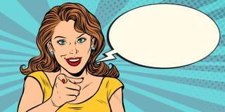 Γυναίκα χειρονομίας που δείχνει το δάχτυλο σε σας απεικόνιση αποθεμάτων