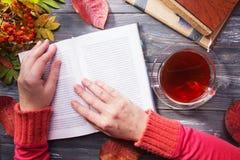 γυναίκα χεριών s Γυναίκα που διαβάζει ένα βιβλίο Στοκ Εικόνες