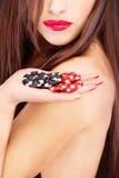 γυναίκα χεριών s τσιπ Στοκ Εικόνες