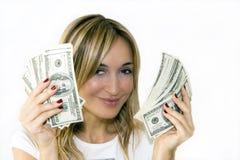 γυναίκα χρημάτων χουφτών στοκ φωτογραφίες