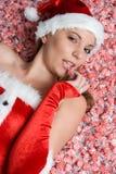 γυναίκα Χριστουγέννων κ&alpha Στοκ Φωτογραφίες