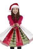 Γυναίκα Χριστουγέννων μετά από τις αγορές Χριστουγέννων Στοκ φωτογραφίες με δικαίωμα ελεύθερης χρήσης