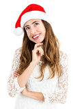 Γυναίκα Χριστουγέννων που κοιτάζει στο διάστημα αντιγράφων Στοκ φωτογραφία με δικαίωμα ελεύθερης χρήσης