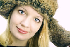 γυναίκα χτυπημάτων αυτιών ΚΑΠ στοκ εικόνες
