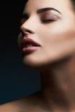 Γυναίκα όμορφο makeup Πανέμορφη γοητεία κυρία Portrait χείλια προκλητικά Τα Χριστούγεννα Makeup ομορφιάς με ακτινοβολούν σκιές μα Στοκ Φωτογραφίες