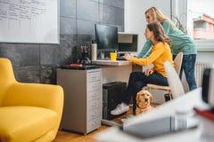 Γυναίκα δύο επιχειρήσεων από το γραφείο που χρησιμοποιεί τον υπολογιστή Στοκ Εικόνες