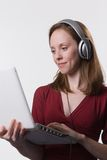 γυναίκα 03 ακουστικών Στοκ Φωτογραφίες