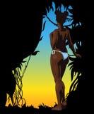 Γυναίκα Afro γυμνή σαν συμπαθητικό πρότυπο μερών σχεδίου stiker για να χρησιμοποιήσει το διάνυσμά σας Στοκ Εικόνες