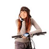 γυναίκα bicyclist στοκ εικόνα