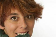 Γυναίκα-biting-της-σακάκι Στοκ εικόνες με δικαίωμα ελεύθερης χρήσης