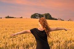 Γυναίκα cornfield Στοκ φωτογραφία με δικαίωμα ελεύθερης χρήσης