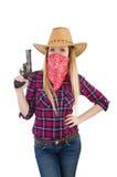 Γυναίκα Cowgirl με το πυροβόλο όπλο που απομονώνεται Στοκ Φωτογραφία