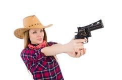 Γυναίκα Cowgirl με το πυροβόλο όπλο που απομονώνεται Στοκ Εικόνα