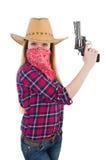 Γυναίκα Cowgirl με το πυροβόλο όπλο που απομονώνεται Στοκ εικόνα με δικαίωμα ελεύθερης χρήσης