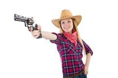 Γυναίκα Cowgirl με το πυροβόλο όπλο που απομονώνεται Στοκ φωτογραφία με δικαίωμα ελεύθερης χρήσης