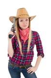 Γυναίκα Cowgirl με το πυροβόλο όπλο που απομονώνεται Στοκ Φωτογραφίες