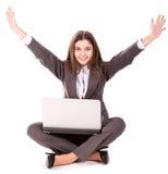 Γυναίκα lap-top ευτυχής στοκ φωτογραφία