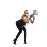 γυναίκα megafone Στοκ εικόνα με δικαίωμα ελεύθερης χρήσης