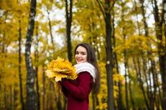 Γυναίκα portret στο δέντρο φύλλων φθινοπώρου Στοκ Φωτογραφίες