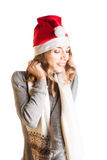 γυναίκα santa καπέλων Στοκ Φωτογραφίες