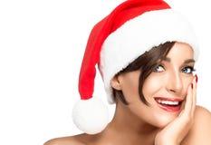 γυναίκα santa τσαντών Θηλυκό πρότυπο ομορφιάς στο καπέλο Santa Στοκ εικόνες με δικαίωμα ελεύθερης χρήσης