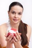 γυναίκα santa φορεμάτων Χριστ&om στοκ φωτογραφία με δικαίωμα ελεύθερης χρήσης