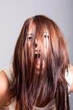 Γυναίκα Scarry που κατέχεται Στοκ Εικόνες