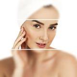 Γυναίκα SPA ανασκόπησης λουτρών όμορφες σωμάτων νεολαίες λευκών γυναικών προσοχής απομονωμένες έννοια skincare Τέλειο δέρμα, isol Στοκ Εικόνες