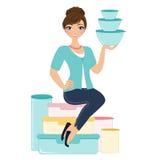 Γυναίκα Tupperware διανυσματική απεικόνιση