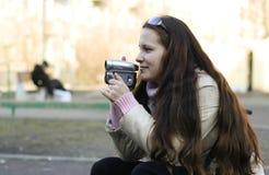 γυναίκα videocamera Στοκ Φωτογραφία