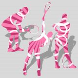 γυναίκες αθλητικής αντισφαίρισης σκιαγραφιών του s Στοκ Εικόνα