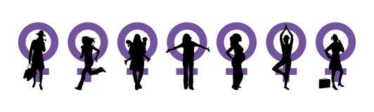 γυναίκες ημέρας s εμβλημάτ&o διανυσματική απεικόνιση