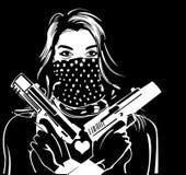 Γυναίκες και πυροβόλο όπλο διάτρητων Στοκ Φωτογραφία