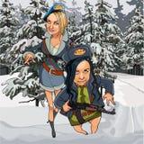 Γυναίκες καρικατουρών στα στρατιωτικά ενδύματα με τα όπλα στο χειμερινό δάσος απεικόνιση αποθεμάτων