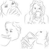 Γυναίκες με τα φλυτζάνια Στοκ εικόνα με δικαίωμα ελεύθερης χρήσης