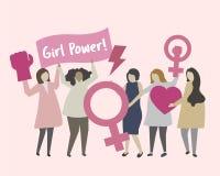 Γυναίκες με το φεμινισμό και την απεικόνιση δύναμης κοριτσιών απεικόνιση αποθεμάτων