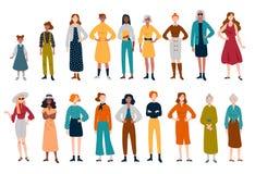 Γυναίκες, πολλοί θηλυκοί χαρακτήρες των διαφορετικών ηλικιών απεικόνιση αποθεμάτων