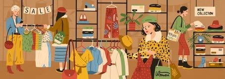 Γυναίκες που επιλέγουν και που αγοράζουν τα μοντέρνα ενδύματα στο κατάστημα ιματισμού ή τη μπουτίκ ενδυμασίας Θηλυκή αγορά πελατώ διανυσματική απεικόνιση