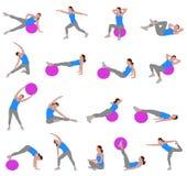 Γυναίκες που κάνουν pilates διανυσματική απεικόνιση