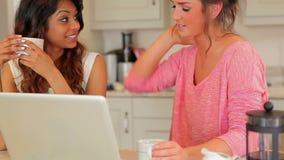 Γυναίκες που πίνουν τον καφέ και που εξετάζουν το lap-top απόθεμα βίντεο