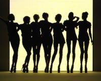 γυναίκες σκιαγραφιών αν&al Στοκ φωτογραφία με δικαίωμα ελεύθερης χρήσης