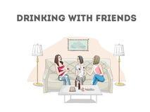 Γυναίκες στο εστιατόριο που μιλά και κρασί κατανάλωσης απεικόνιση αποθεμάτων