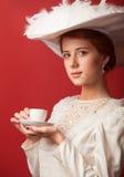 Γυναίκες Edwardian με το φλυτζάνι στοκ εικόνες με δικαίωμα ελεύθερης χρήσης