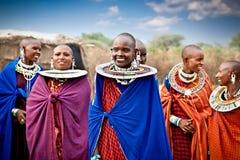 Γυναίκες Masai με τις παραδοσιακές διακοσμήσεις, Τανζανία Στοκ Εικόνα