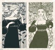 Γυναίκες Nouveau τέχνης διανυσματική απεικόνιση