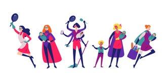 Γυναίκες superhero costumes do housework, που καθαρίζει, και που ανατρέφει τα παιδιά διανυσματική απεικόνιση