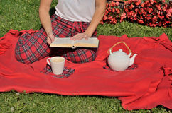 γυναικεία ανάγνωση βιβλίων Στοκ Φωτογραφίες