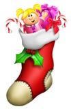 Γυναικεία κάλτσα Χριστουγέννων κινούμενων σχεδίων Στοκ φωτογραφία με δικαίωμα ελεύθερης χρήσης